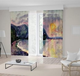 curtain painting Australia - Waterscape with Sunset Seaside Hill Cliff Nature Watercolor Painting in Dark Blue Pink Yellow Artful Curtain