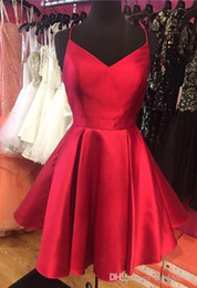 sexy teens pictures NZ - Actual Pictures Red Simple Short Homecoming Dresses A Line Spaghetti Strap Criss Cross Backless Mini Cocktail Gowns Graduation For Teens