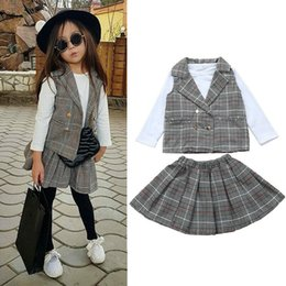 cute t shirt outfits Australia - Cute Newborn Girl Kids Clothes Sets Suit White T-Shirts Tops Plaid Vest+A-Line Skirt Outfit Formal Clothes