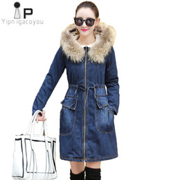 Long Ladies Denim Jacket Australia - Women Denim Jacket Long Winter Plus Size Lambswool Big Fur Collar Hooded Warm Jeans Bomber Jacket Women Fashion Ladies Jackets