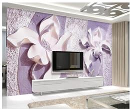 PurPle wallPaPer for bedroom walls online shopping - Embossed purple magnolia d TV background wall wallpaper for walls d for living room