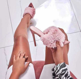 Rabbit fuR heels online shopping - European station sandals candy color luxury rabbit fur high heel sandals slippers foreign trade large size women s shoes