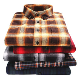 $enCountryForm.capitalKeyWord Australia - High Quality 100% Cotton Men Flannel Plaid Shirt Fashion Casual Soft Comfort Long Sleeve Male Shirts Collar Buckle Design