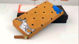 Discount rabbit genuine leather wallet - High-quality leather 3D printed rabbit fashion wallet, large capacity long zip wallet card holder