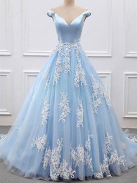 $enCountryForm.capitalKeyWord Australia - Light Sky Blue Ivory Lace Wedding Dresses Bridal Gown off the shoulder Princess Colorful Designer Corset Back Cheap Wedding Gowns Cheap
