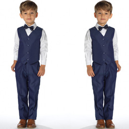 $enCountryForm.capitalKeyWord Canada - Spring Boys Formal Wear For Wedding Navy Two Pieces Kids Tuxedos Fashion Custom Made Baby Boy Clothes(Vest+Pants)