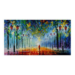 "hand painted romantic canvases UK - 24""*20""Hand-painted canvas mural decoration romantic couples walk in the woods of forest landscape study sitting room porch decoration"