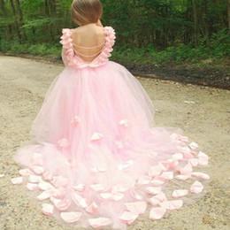 $enCountryForm.capitalKeyWord Australia - Princess Ball Gown Lace Flower Girls Dresses For Weddings Cheap Tulle Belt Bow Knot Custom First Communion Dress Gown