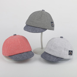 Summer Baby Soft Cotton Casual Striped Eaves Baseball Cap Newborn Beret Unisex