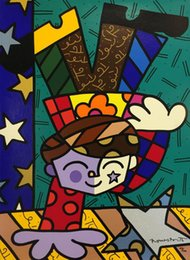 Abstract Oil Prints Australia - Romero Britto Cartoon Abstract Art Handstand,Oil Painting Reproduction High Quality Giclee Print on Canvas Modern Home Art Decor