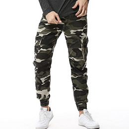 Wholesale yellow camo pants for sale – dress 2019 Hot Fashion Camouflage Tactical Cargo Pants Men Casual Slim Camo Mens Joggers Pants Ankle tied Trousers Men