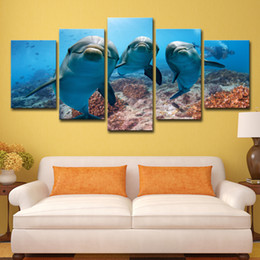 $enCountryForm.capitalKeyWord Australia - 5 Piece painting HD Printed Deep Ocean Swimming Dolphin Paintings for Living Room Wall Posters and Prints Free Shipping