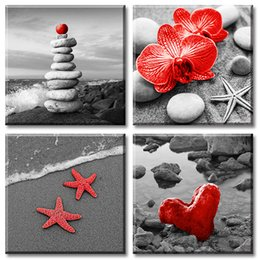 ocean canvas print art NZ - Black and White Beach Wall Art Red Starfish Stone Sandbeach Artwork Romance Loveshell Seascape Theme Ocean Canvas Zen Bathroom Modern Decor