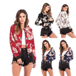 Women's Crew Collar Jacket Australia - Women Jacket Female Baseball Suit Zipper Jacket Casual Flying Crane Print Crew Neck Long Sleeve Lady Summer Vacation Girl Outer Wear 14 Colo