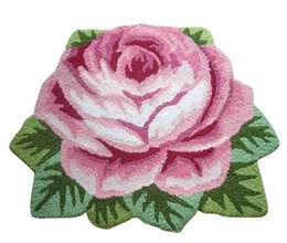 Chinese  1Pc Handmade Anti-Slip Modern Carpet Rose Carpet Floor Mat 60*80cm Kitchen Area Rugs Flower Rug Home Decoration Supplies manufacturers