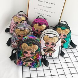 Cartoon storage online shopping - Sequin Kids Toys designer lol dolls Backpack girls cartoon storage bags Backpacks hop pocket christmas gifts bags LOL toy