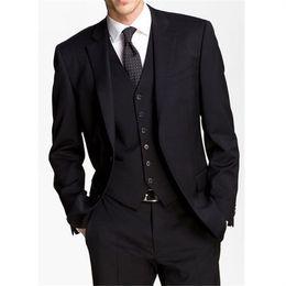 Flat Angle NZ - Men's suit three-piece suit (jacket + pants + vest) men's two buckle flat angle collar suit fashion business dress support custom