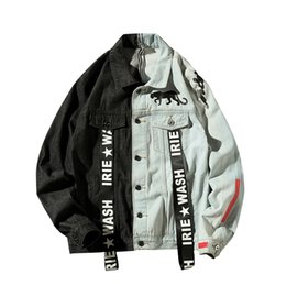 $enCountryForm.capitalKeyWord NZ - Contrast Jeans Jacket Men Plus Size 5xl Denim Jacket Japanese Streetwear Moda Hombre 2018 Hip Hop Ribbon Tape Jeans men