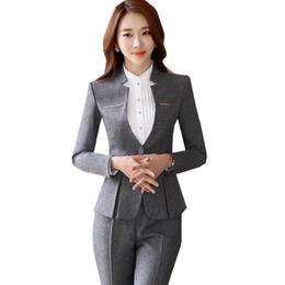 Ol Suits NZ - 2019 Autumn Pants Suit For Women Elegant V Neck Blazer+Long Trousers 2 Pieces OL Office Lady Business Pant Blazer Suit ow0400