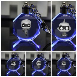 $enCountryForm.capitalKeyWord Australia - Anime Helen Parr keychain Mr Incredible Violet-Parr Jack-Parr Dash-Parr square shaped crystal key chain cute fun LED key chain