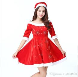 9309ba994c56 Adult Christmas Princess Set Female Sweet Cute Temperament Red Sleeve Gold  Velvet Dress Female Pop Holiday Women s Skirt Sexy Wholesale