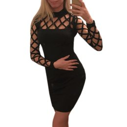 1837c91814406 Clubwear Dresses Plus Size UK - Hollow Out Bodycon Women Dress 2019 Long  Sleeve Nightclub Bandage