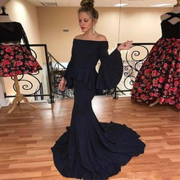long sleeve black peplum evening gown Australia - Cheap Black Mermaid Prom Dresses with Poet Long Sleeve Bateau Neck Formal Gown Sweep Train Satin Evening Party Gowns