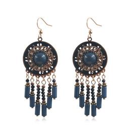 0051aea2e Bohemian Ethnic Flower Handmade Beads Stone Tassel Long Statement Drop  Earrings Boho Earrings for Women Dangle Earring Accessory
