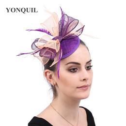 black elegant hair UK - Classic Hair Fascinators accessories women weddings hats elegant ladies feathers headwear female Linen clips for event party accessories