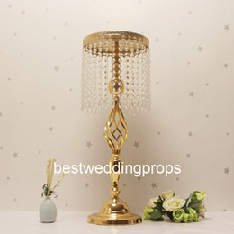 tall flower stands for centerpieces Australia - New style Gold Crystal Tall Flower Stand Vases Centerpieces for Wedding Table best 0840