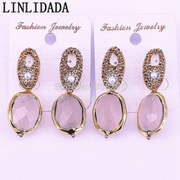 $enCountryForm.capitalKeyWord Australia - 4Pair New arrivals gold color Natural Pink Quartz Stone pave crystal rhinestone earrings High quality earrings gems jewelry