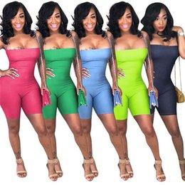 Ingrosso Tute sexy da donna pagliaccetti spaghetti strap body backless fasciatura one piece mini pant designer estate abbigliamento skinny clubwear 1039