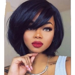 $enCountryForm.capitalKeyWord Australia - Bob Short Straight 13x6 Lace Front Human Hair Wigs Brazilian Remy Hair Full Lace Lacefront Frontal Wig For Black Women With Baby Hair Bangs