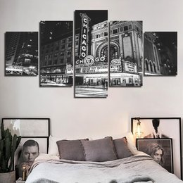 $enCountryForm.capitalKeyWord Australia - Office Wall Art Canvas Painting Framework Black And White City Retro Pictures Prints Room Chicago Theater Poster Home Decoration