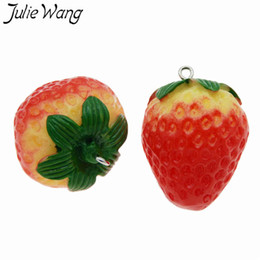 strawberry key Australia - Julie Wang 3PCS Resin Red Strawberry Charms Artificial Fruit Pendants Bracelet Necklace Key Chain Jewelry Making Accessory