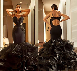 $enCountryForm.capitalKeyWord Australia - 2019 Sexy Black Organza Tiered Prom Dress Spaghetti Straps Open Back Lace Maxi Dresses Party Evening Mermaid Long Formal Party Gown