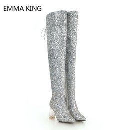 Wholesale Sexy Over The Knee Long Boots Ladies Pointed Crystal Square High heeled Shoes Woman Sequins Cloth Female Straps Thigh High Boots