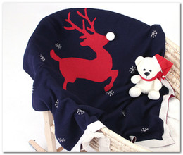 blanket wraps Australia - INS Baby Xmas reindeer snow knitted swaddle wrap newborn cotton blankets stroller bedding cover baby boys girls knit quilt 100*80cm J0379