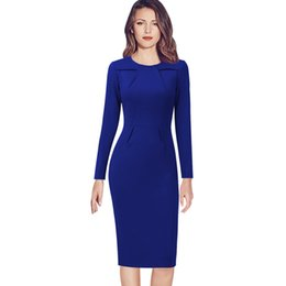 cbc704d9777 wholesale Womens Celebrity Elegant Vintage Ruched Pinup Wear To Work Office  Business Casual Party Fitted Bodycon Pencil Dress 1519