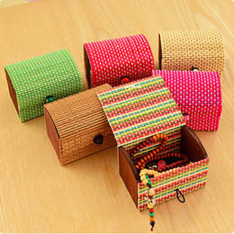 Wood Desk Storage Box Australia - Hot Selling 1PC Ring Necklace Earrings Bamboo Wooden Jewelry Storage Boxes Makeup Organizer Cosmetic Desk Storage Container