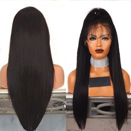 brown straight wig part UK - 9A Pre Plucked Lace Front Ponytail Wigs With Baby Hair 13X6 Deep Part Brazilian Virgin Silky Straight Human Hair Wigs For Black Women