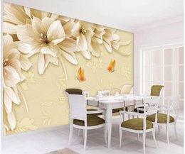 fantasy wallpaper Australia - wallpaper for walls 3 d for living room Yellow fantasy flower lily tv background wall
