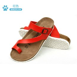 Wholesale korean style couple cork sandals women brief buckle strap decorate beach sandals ladies summer soft microfiber leather flipflops