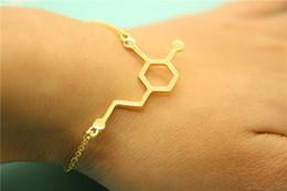 tin chemicals 2019 - 10 Fashion hollow Formula chemical Molecule science Geometric hexagon bracelet hormone Molecules 5-ht Pendant bracelet J