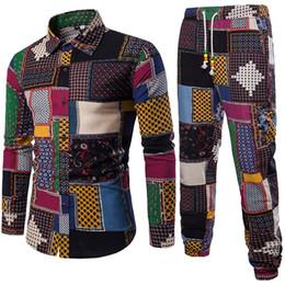 gold linen suits 2019 - Mens Vacation Set Linen Long Pant Ethnic Style Patchwork Male Suit Festival Wear Plus Size 5XL Europe Slim Shirt 2018 Au
