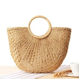 Braid Yellow UK - Yellow Grass Braided Straw Outdoor Beach Bag Rattan Hand-woven Round Handle Retro Large Casual Girl Bag Totes Beach Handbag Bags