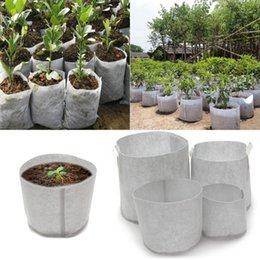Wholesale Non Woven Tree Fabric Pots Grow Bag Root Container Plant Pouch white hand with planting flowers nonwoven bags Grows Culture DLH153