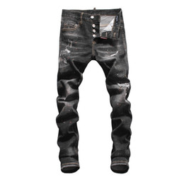 $enCountryForm.capitalKeyWord Australia - Men's jeans Bottoms Tooling denim 2019 new products Slim fit Individuality hole comfortable design Colored ink
