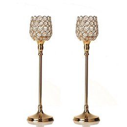 gold table lamp crystal Australia - Gold Crystal Glass Tealight Candle Holder   Candlestick for Home Party Dinning Table Centerpieces Decoration Father's Day Gifts
