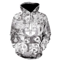 Wholesale hentai hoodie for sale – custom 3D Anime Hoodies Women Men Funny hoodie Shy Girl Face Sweatshirt Hentai Manga Streetwear Harajuku Oversized Jackets Tops T191230